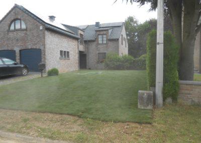 Réalisation d'une devanture de maison en pelouse en rouleaux