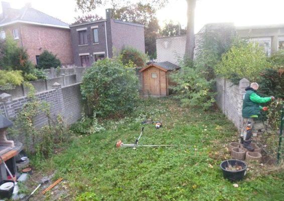 Nettoyage d'un petit jardin à angleur