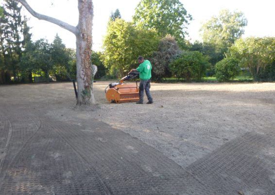 Création d'une pelouse après un sérieux nettoyage et nivellement d'un terrain