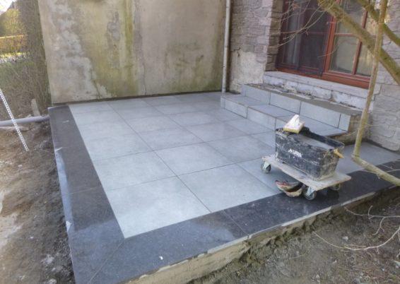 Création de deux nouvelles terrasses en pavés à Neupré